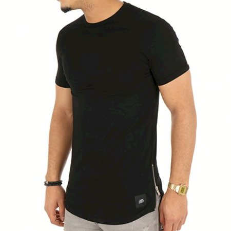 Sixth June SKINNY T-SHIRT WITH ROUNDED BO T-shirt zips côtés noir