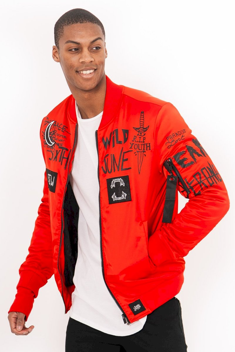 SIXTH JUNE JACKET SATIN CREW (REDX) Bomber Crew rouge
