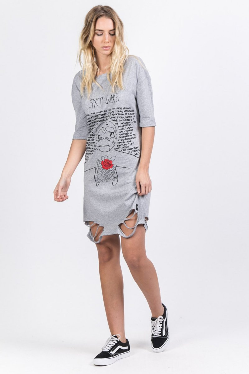 Sixth June REGULAR DESTROYED T-SHIRT DRESS Robe déchirée imprimé tête de mort gris