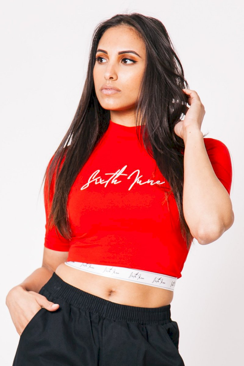Sixth June SPORT TIGHT TOP T-shirt bande gros logo signature rouge