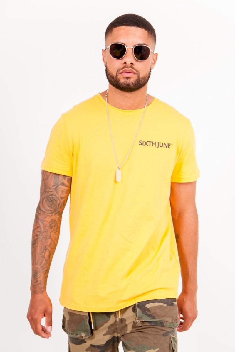 Sixth June TWO FRONT SIDE TSHIRT T-shirt imprimé double logo jaune