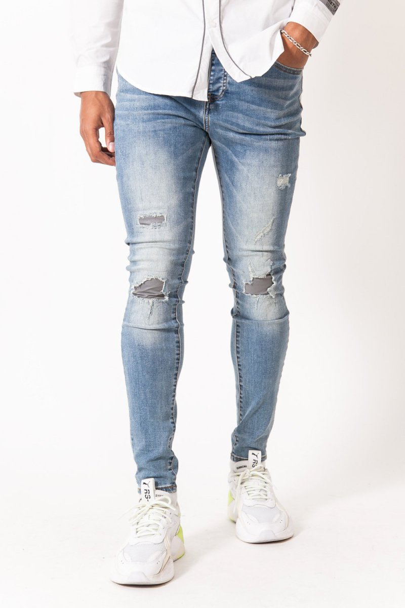 Sixth June DENIM WITH REFLECTIVE HOLES (BLUE) Jean réfléchissant usé bleu