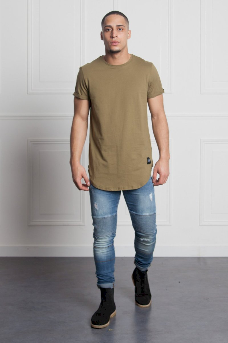 Sixth June REGULAR T-SHIRT WITH ROUNDED B (KAKI) T-shirt bas arrondi kaki